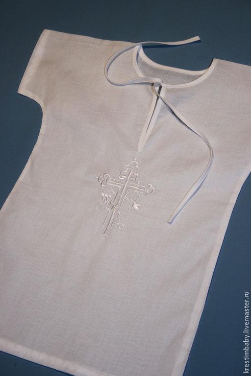 Крестильные принадлежности ручной работы. Ярмарка Мастеров - ручная работа. Купить Крестильная рубашечка. Handmade. Белый, крестик, крестильное, на крещение