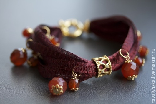 Браслеты ручной работы. Ярмарка Мастеров - ручная работа. Купить позолоченный браслет Вечерняя Венеция. Handmade. Бордовый, натуральные камни