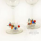 Свадебный салон ручной работы. Ярмарка Мастеров - ручная работа Декор для свадебных бокалов с ягодами из полимерной глины. Handmade.