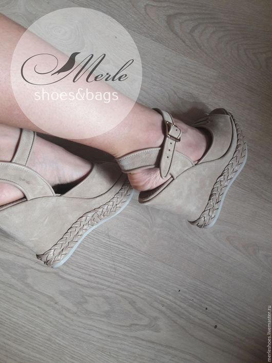 Обувь ручной работы. Ярмарка Мастеров - ручная работа. Купить Босоножки бежевый замш натуральная замша, 12 см. Handmade.