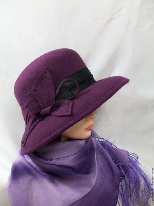 Шляпы ручной работы. Ярмарка Мастеров - ручная работа. Купить Фетровая шляпа  с большими полями. Handmade. Фиолетовый, назаказ