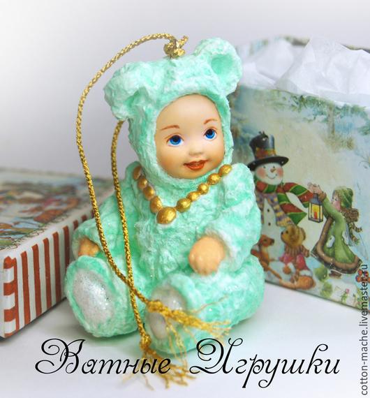 игрушка на елку, елочные игрушки, елочная игрушка, ватная елочная игрушка, ватное папье маше, елочная игрушка из ваты