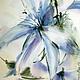 Картины цветов ручной работы. Ярмарка Мастеров - ручная работа. Купить акварель цветок цикория. Handmade. Голубой, акварель, бумага
