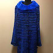 """Меховое пальто комбинированное синее """"Электро"""" 90см."""