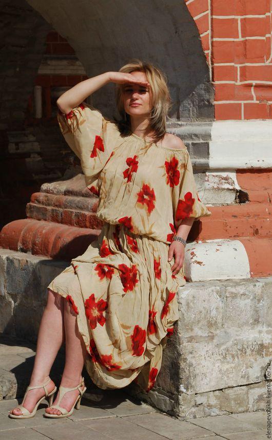 Платья ручной работы. Ярмарка Мастеров - ручная работа. Купить Воздушная и красные бугенвиллии. Платье из шифона-крэш.. Handmade. Бежевый
