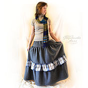 Одежда handmade. Livemaster - original item Skirt boho warm long