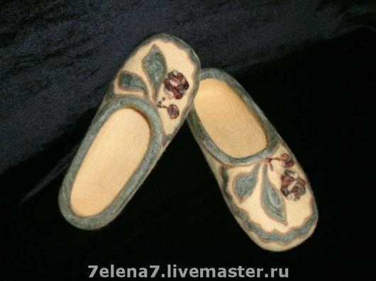 """Обувь ручной работы. Ярмарка Мастеров - ручная работа. Купить Тапочки """" Оникс"""". Handmade. Домашние тапочки, войлочные тапочки"""