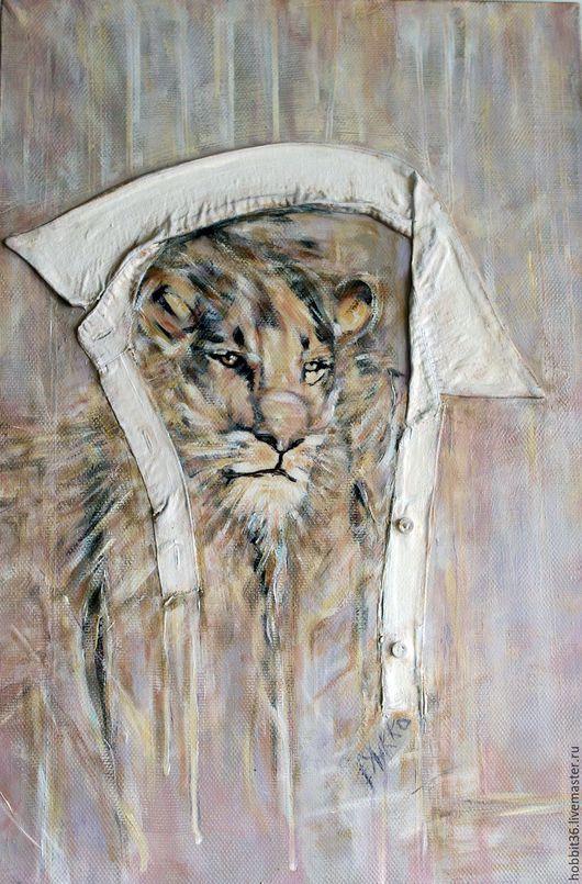 Животные ручной работы. Ярмарка Мастеров - ручная работа. Купить картина интерьерная холст масло Лев просто царь в городских джунглях. Handmade.