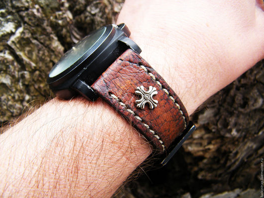 Часы ручной работы. Ярмарка Мастеров - ручная работа. Купить Ремешок для часов из натуральной кожи. Handmade. Натуральная кожа, для часов