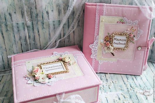 Подарки для новорожденных, ручной работы. Ярмарка Мастеров - ручная работа. Купить Набор Мамины сокровища и Мамин дневничок. Handmade. Розовый