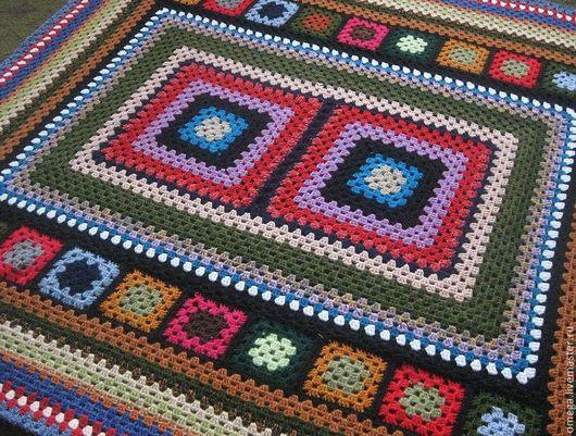 Текстиль, ковры ручной работы. Ярмарка Мастеров - ручная работа. Купить Квадраты и квадратики. Handmade. Плед, шерсть, мохер
