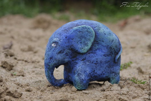 Игрушки животные, ручной работы. Ярмарка Мастеров - ручная работа. Купить Жил в Африке слон.... Handmade. Синий, слоник