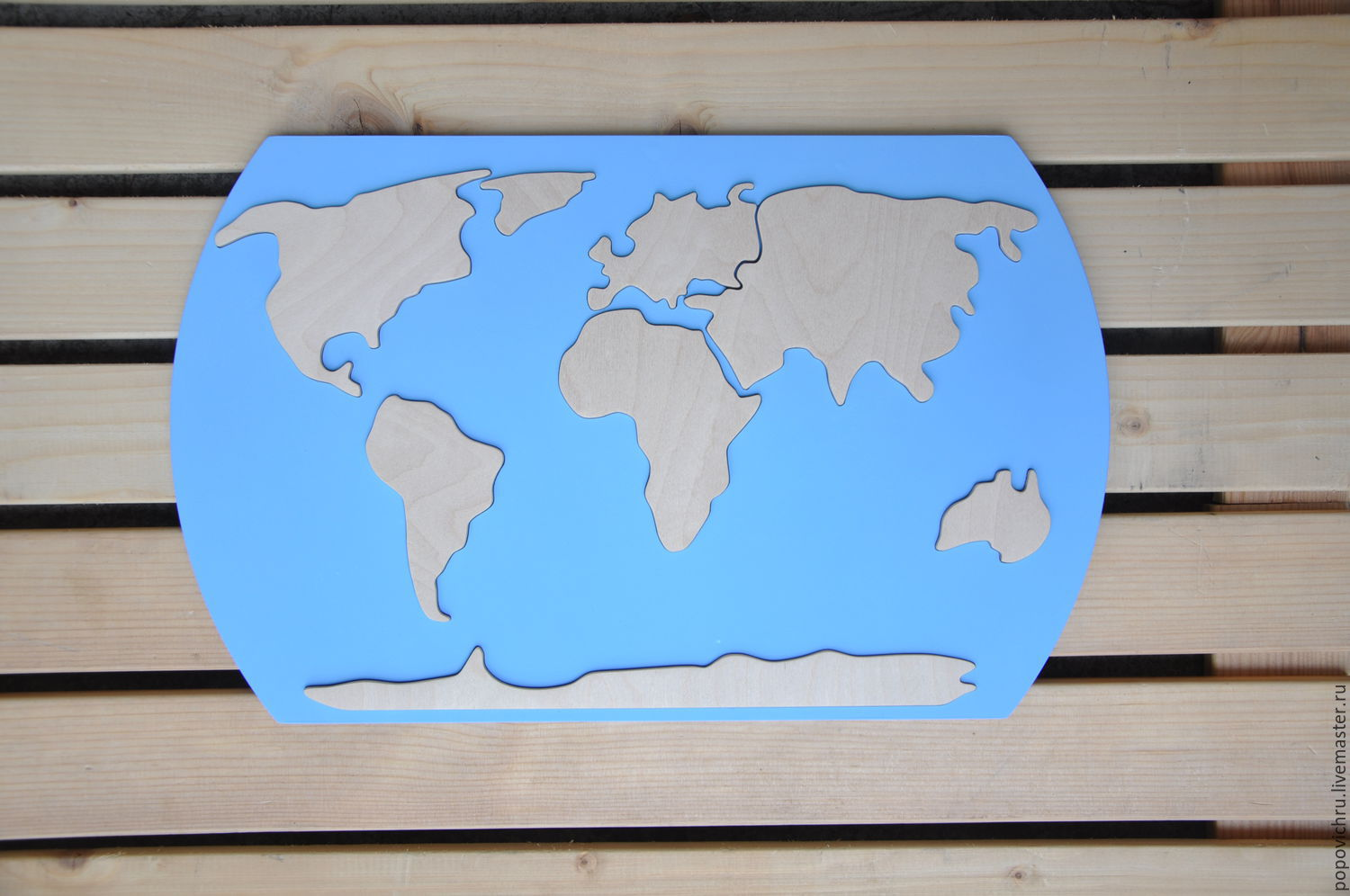 World map educational puzzle made of wood, Doll food, Cheboksary,  Фото №1