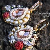 """Украшения ручной работы. Ярмарка Мастеров - ручная работа Позолоченные серьги по мотивам Dolce & Gabbana  """" Peach Rose """". Handmade."""