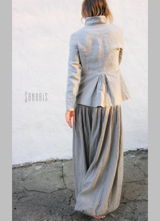 Пиджаки, жакеты ручной работы. Ярмарка Мастеров - ручная работа. Купить Льняной пиджак «Иланг». Handmade. Серый, натуральный лен