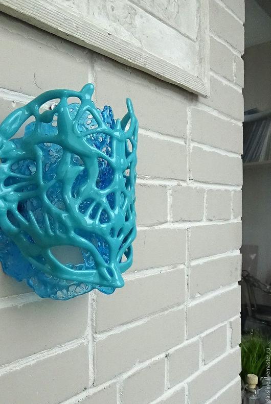 """Интерьерные  маски ручной работы. Ярмарка Мастеров - ручная работа. Купить Маска из стекла, коллекция  """"Турандот""""  - """"Бирюза на голубом"""". Handmade."""