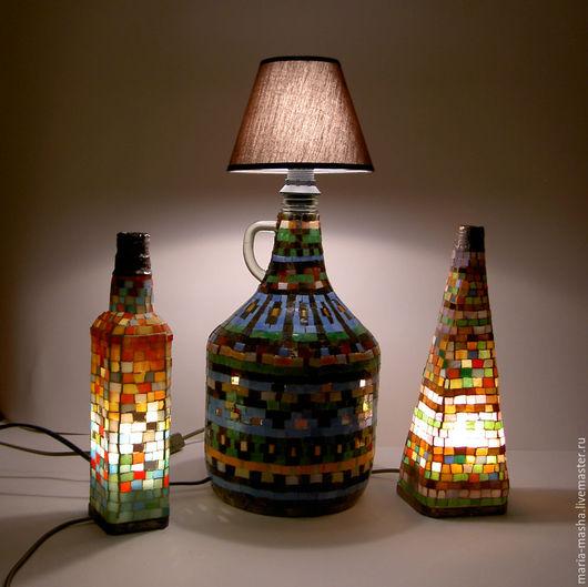 Освещение ручной работы. Ярмарка Мастеров - ручная работа. Купить светильник бутылочный. Handmade. Коричневый, мозаика