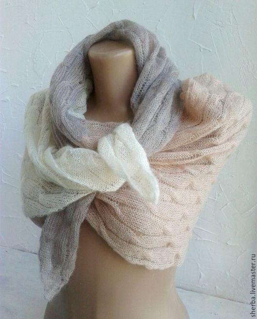 Шарфы и шарфики ручной работы. Ярмарка Мастеров - ручная работа. Купить Вязаный  3-х цветный шарф паутинка. Handmade.