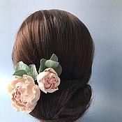 Свадебный салон handmade. Livemaster - original item Jewelry in the bride`s hairstyle hairpins with peonies and eucalyptus. Handmade.