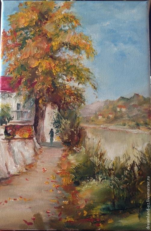 """Пейзаж ручной работы. Ярмарка Мастеров - ручная работа. Купить Картина маслом """" Вот и осень..."""". Handmade. Оранжевый"""