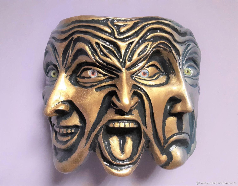 Mask Triple Mask fantasy Three Faces,the Mask of Emotion, Interior masks, Chelyabinsk,  Фото №1