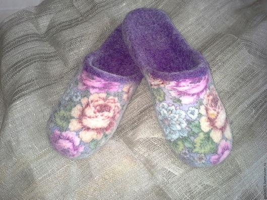 """Обувь ручной работы. Ярмарка Мастеров - ручная работа. Купить """"Гармония"""" Валяные тапочки-шлепки. Handmade. Шерсть, тапочки валяные"""