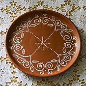 """Посуда ручной работы. Ярмарка Мастеров - ручная работа Тарелка """"Узорная"""" сервировочная. Handmade."""