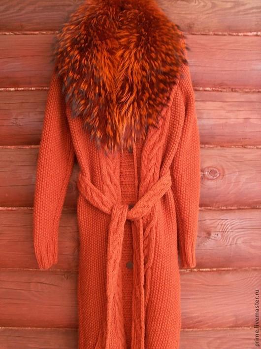 """Верхняя одежда ручной работы. Ярмарка Мастеров - ручная работа. Купить Пальто вязаное """"Терра"""". Handmade. Вязаное пальто, косы"""