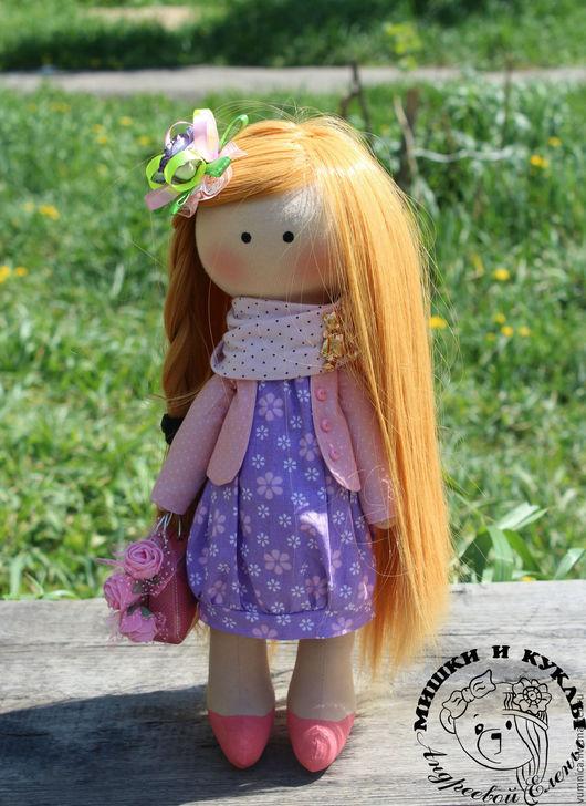 Куклы тыквоголовки ручной работы. Ярмарка Мастеров - ручная работа. Купить Интерьерная текстильная кукла Виктория. Handmade. сиреневый