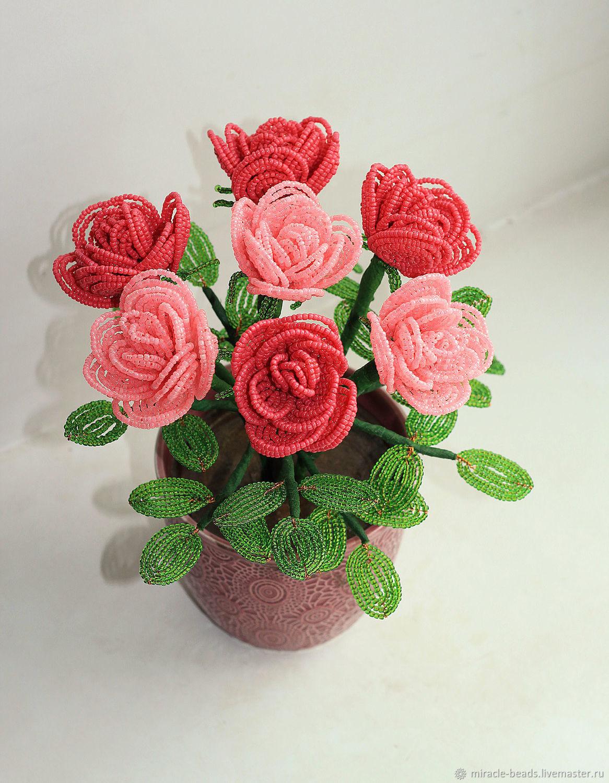Цветы из бисера. Розы из бисера, Цветы, Чебоксары,  Фото №1