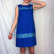 Одежда ручной работы. Ярмарка Мастеров - ручная работа Платье из льна синее Арт. 106 ,без рукава. Handmade.