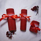 Свечи ручной работы. Ярмарка Мастеров - ручная работа Свечи: Набор из трех красных свечей. Handmade.