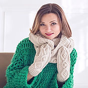 """Аксессуары ручной работы. Ярмарка Мастеров - ручная работа """"Крем-брюле"""", комплект вязаный, шарф снуд вязаный и варежки вязаные. Handmade."""