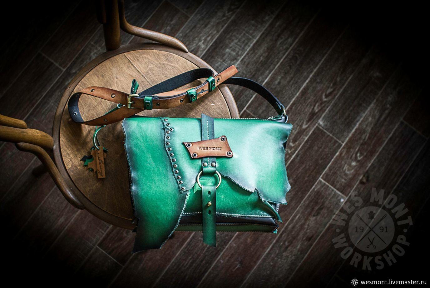 Оригинальная кожаная сумка МАРТИНИКА GRASSO Зелёная кожа WES MONT, Классическая сумка, Рыбинск,  Фото №1