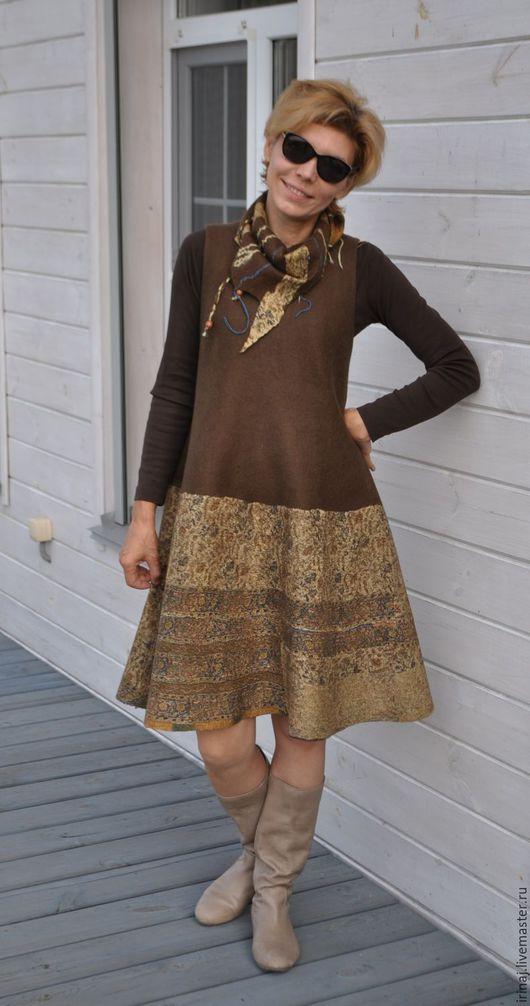 """Платья ручной работы. Ярмарка Мастеров - ручная работа. Купить валяный сарафан  """"Brown"""". Handmade. Платье, платье войлочное, бохо"""