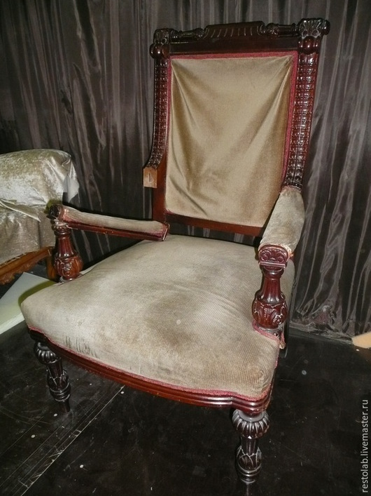 Реставрация. Ярмарка Мастеров - ручная работа. Купить Реставрация и перетяжка старинного кресла из красного дерева.. Handmade. Бордовый, старинное кресло