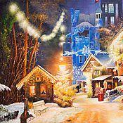 """Картины ручной работы. Ярмарка Мастеров - ручная работа Пейзаж маслом """"Европейское Рождество"""". Handmade."""