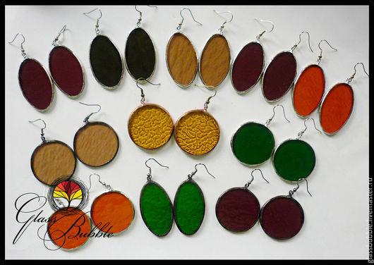 Серьги ручной работы. Ярмарка Мастеров - ручная работа. Купить Цветные сережки из витражного стекла в любой форме. Техника тиффани.. Handmade.