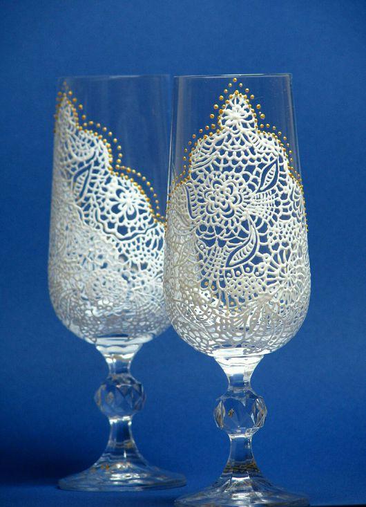 """Подарки для влюбленных ручной работы. Ярмарка Мастеров - ручная работа. Купить Пара свадебных бокалов для шампанского """"Кружево"""". Handmade."""
