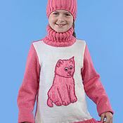 """Работы для детей, ручной работы. Ярмарка Мастеров - ручная работа Подростковый свитер """"PINK cat"""". Handmade."""