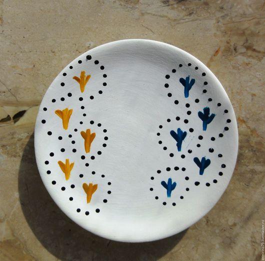 Декоративная посуда ручной работы. Ярмарка Мастеров - ручная работа. Купить Тарелочка Гусиные лапки. Handmade. Декоративная тарелка, белый