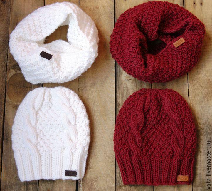 Вязаные шапочки и шарфы своими руками 11