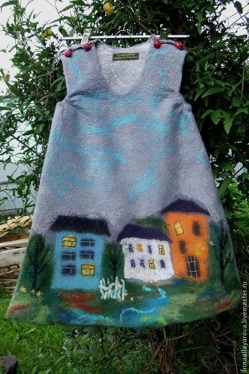 """Одежда для девочек, ручной работы. Ярмарка Мастеров - ручная работа. Купить Валяное платье """"Город детства.."""". Handmade. Рисунок"""