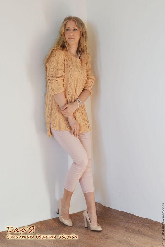 """Кофты и свитера ручной работы. Ярмарка Мастеров - ручная работа. Купить """"Эйприл"""" женский джемпер ручной работы из хлопка длинный с хвостом. Handmade."""
