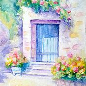 """Картины и панно ручной работы. Ярмарка Мастеров - ручная работа Картина """"Уютный дворик"""" акварель. Handmade."""