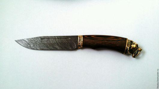 """Оружие ручной работы. Ярмарка Мастеров - ручная работа. Купить Нож кованый """"ТИГР""""из дамасской стали с чехлом (натуральная кожа). Handmade."""