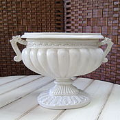 Материалы для творчества ручной работы. Ярмарка Мастеров - ручная работа Ваза вазон чаша овал кашпо экрю. Handmade.