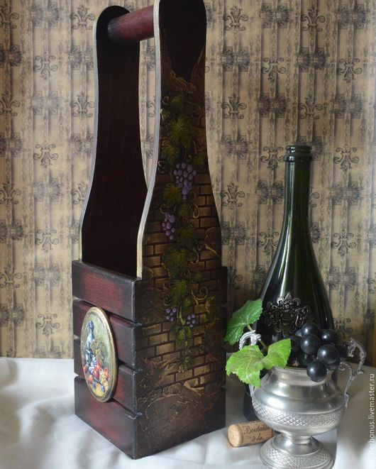 """Корзины, коробы ручной работы. Ярмарка Мастеров - ручная работа. Купить Короб для вина """"Кардинал"""". Handmade. Коричневый, Декупаж"""