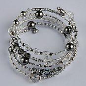 Украшения handmade. Livemaster - original item Bracelet with Swarovski pearls Black and white movie. Silver, pearl. Handmade.