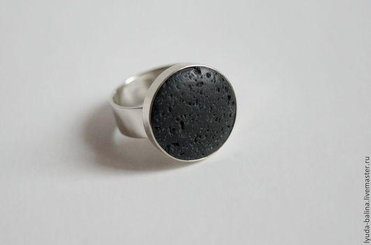 """Кольца ручной работы. Ярмарка Мастеров - ручная работа. Купить Кольцо """"Энергия вулкана"""" с лавой. Handmade. Черный, лава, мельхиор"""
